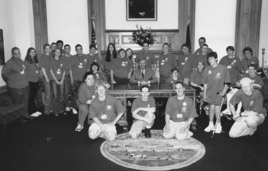 The 2001 delegates pose in the Governor's office of the Capital.