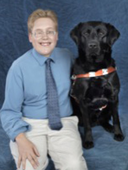 Andrew Crane and guide dog Orzo