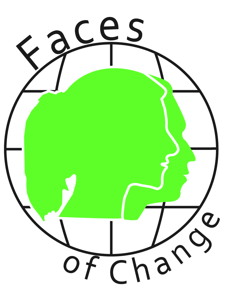 Faces of Change logo with green heads on a globe